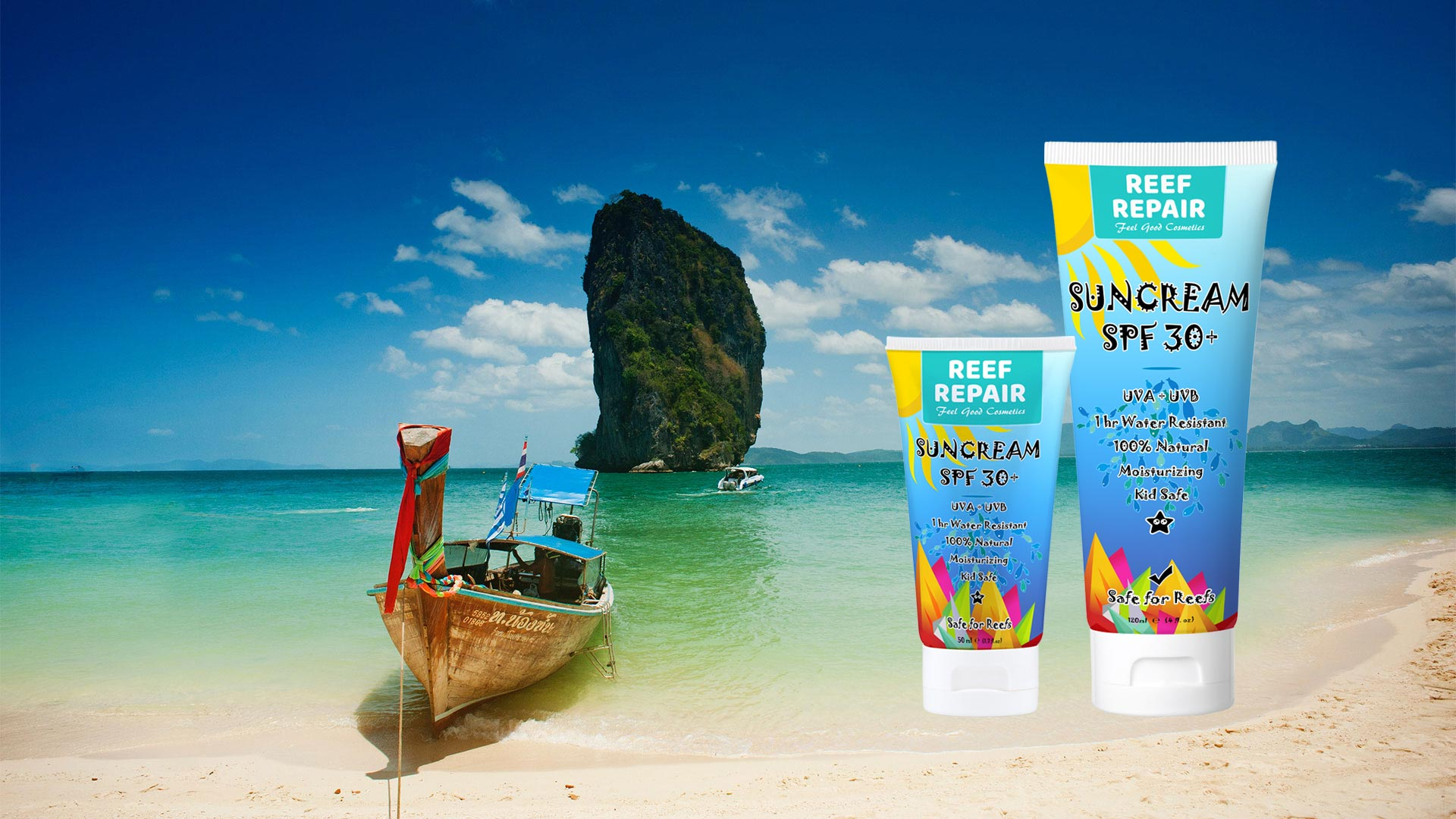 Thailand's most trusted reef safe sunscreen. 100% natural, waterproof, Oxybenzone free moisturizing skin, lip, hair & sun care. Help protect our coral reefs