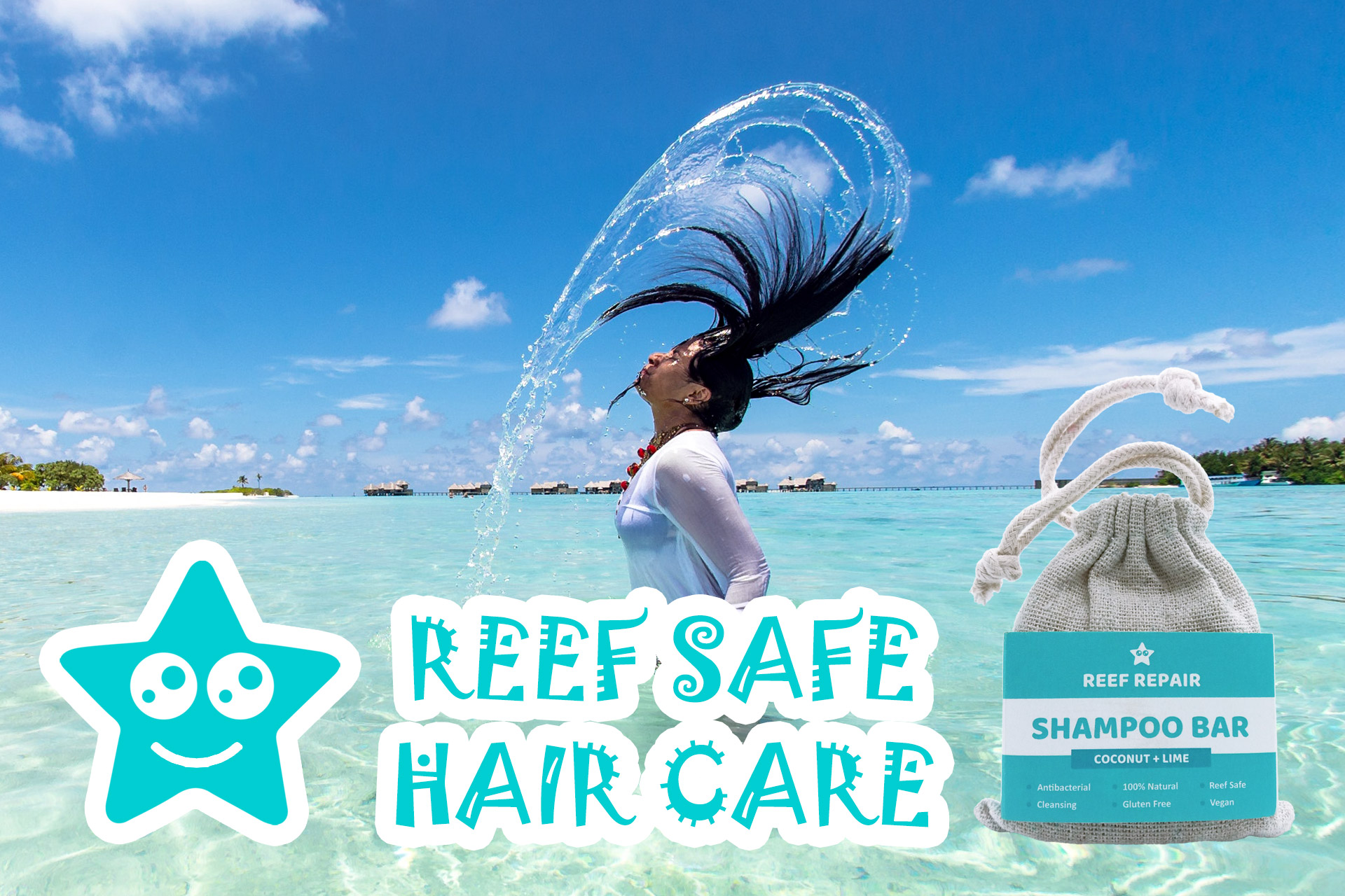 Reef Safe Hair Care Reef Repair Shampoo Bar Coconut Lime