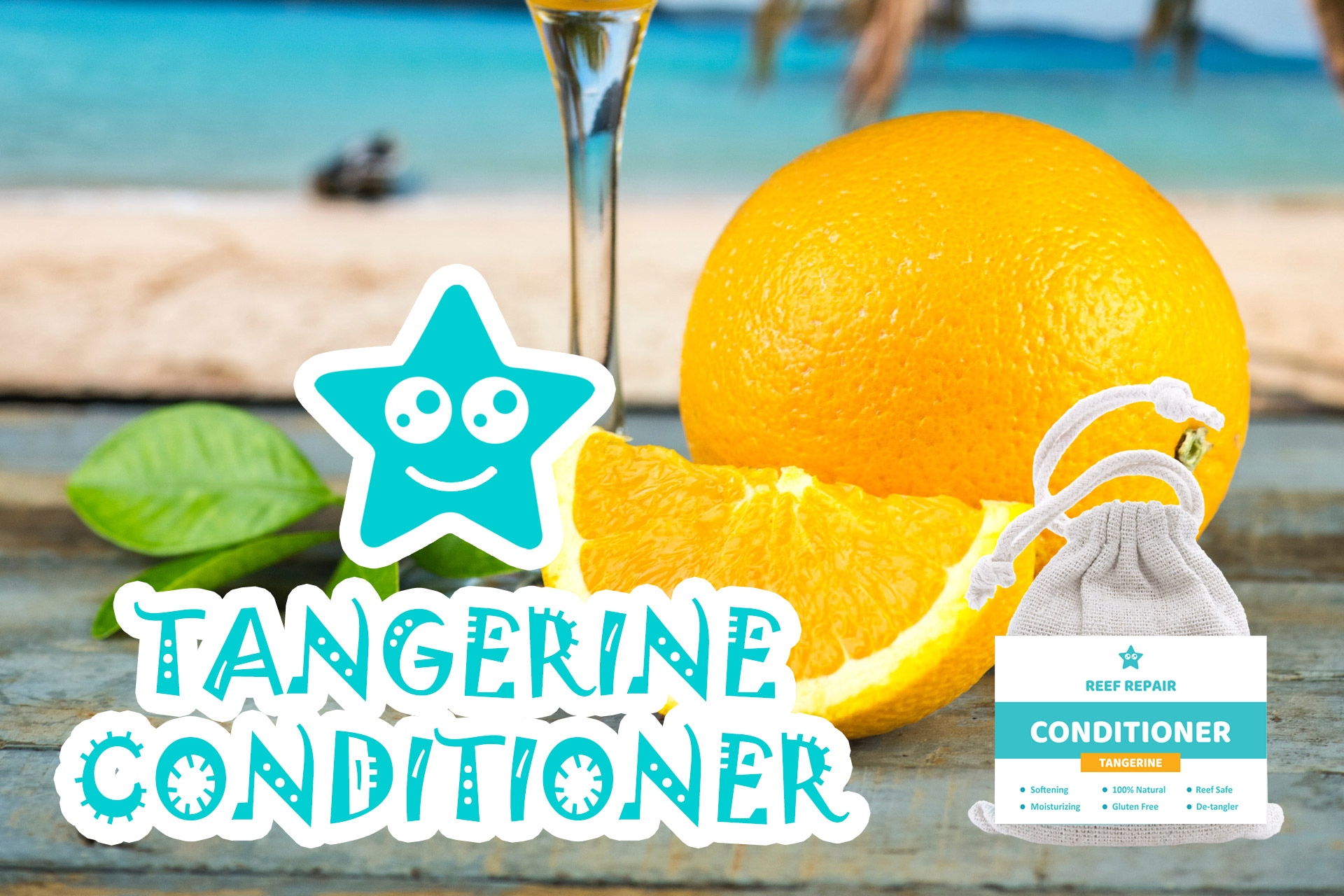 Tangerine Conditioner Bar Reef Safe Hair Care Reef Repair