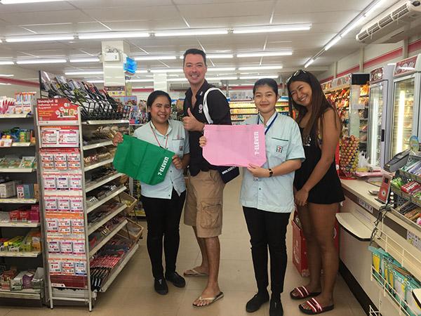 7-11 reducing plastic bag usage on Koh Tao