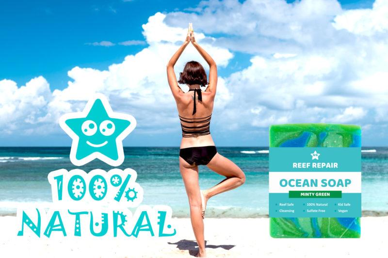 All Natural Ocean Safe Soap Minty Green Ocean Scent Reef Safe Ocean Soap Reef Repair Skin Care