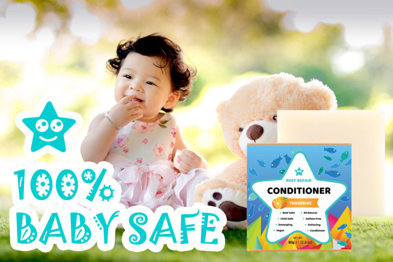 Baby Safe Conditioner Bar Tangerine Scented Reef Safe Conditioner by Reef Repair Hair Care