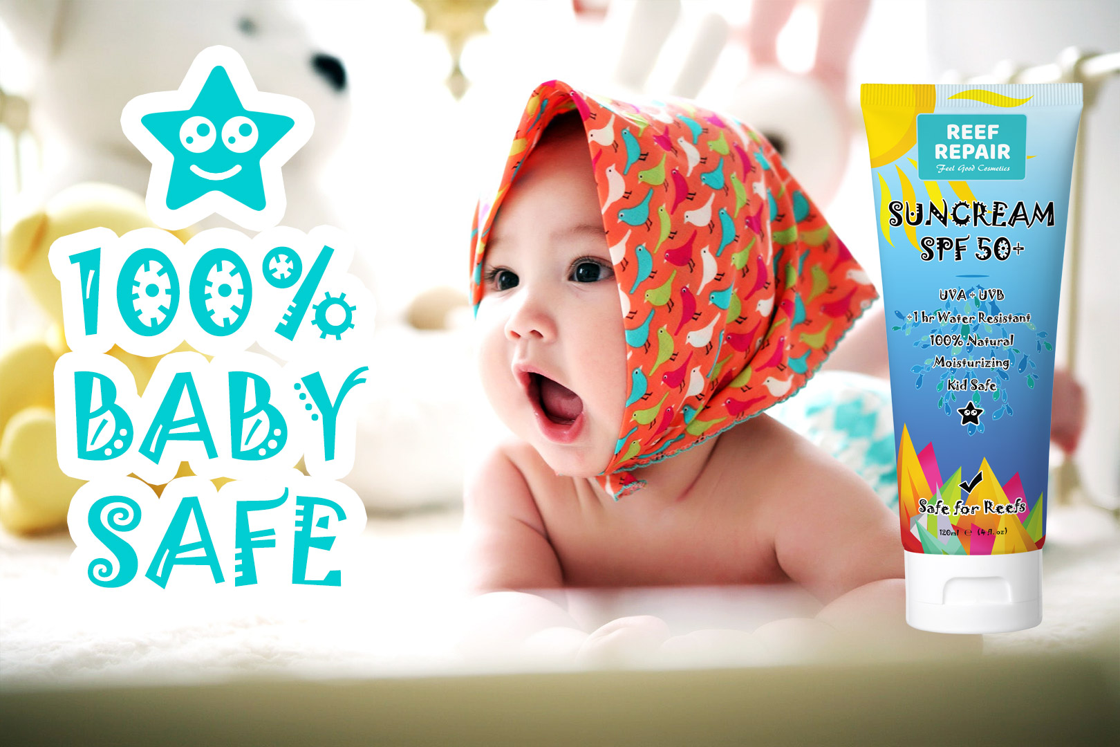 Baby Safe Reef Safe Skin Safe All Natural Spf 50 Sunscreen For Kids By Reef Repair 120ml