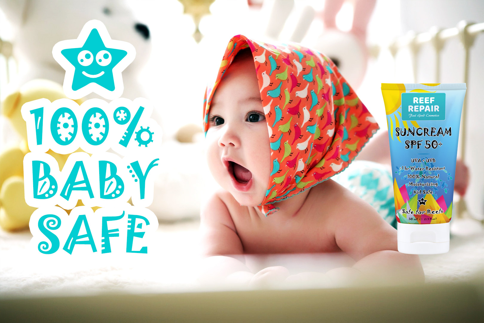 Baby Safe Reef Safe Skin Safe All Natural Spf 50 Sunscreen For Kids By Reef Repair 50ml