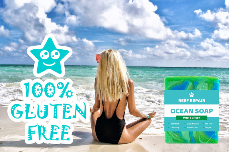 Gluten Paraben Free Reef Safe Soap Minty Green Scent Reef Repair Skin Care