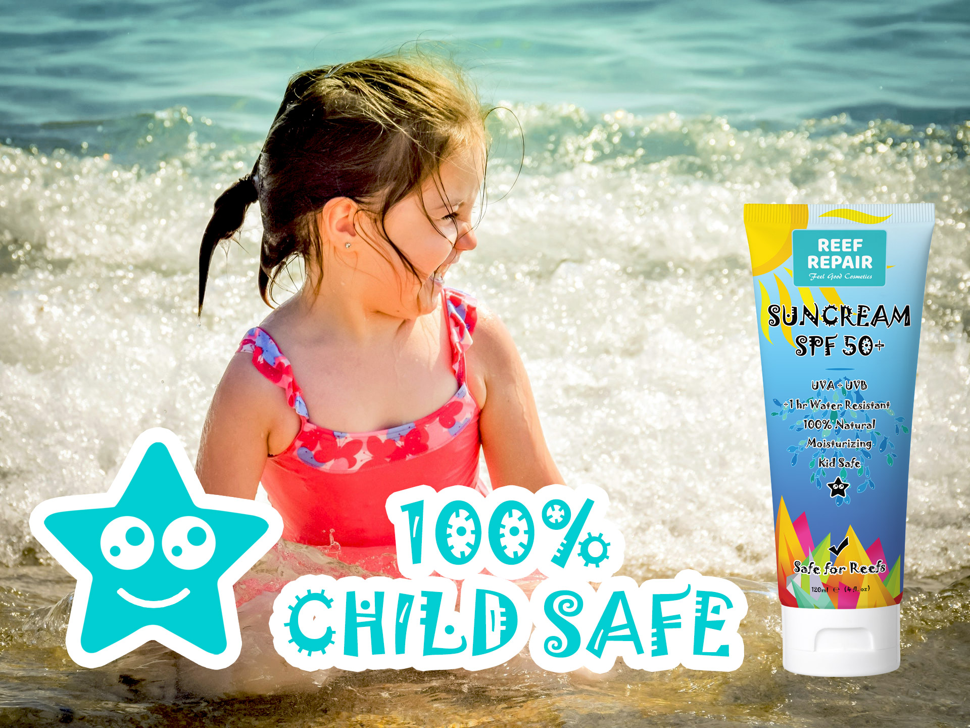 Kid Safe Child Safe Reef Safe Skin Safe All Natural Spf 50 Sunscreen For Children By Reef Repair Sun Care 120ml