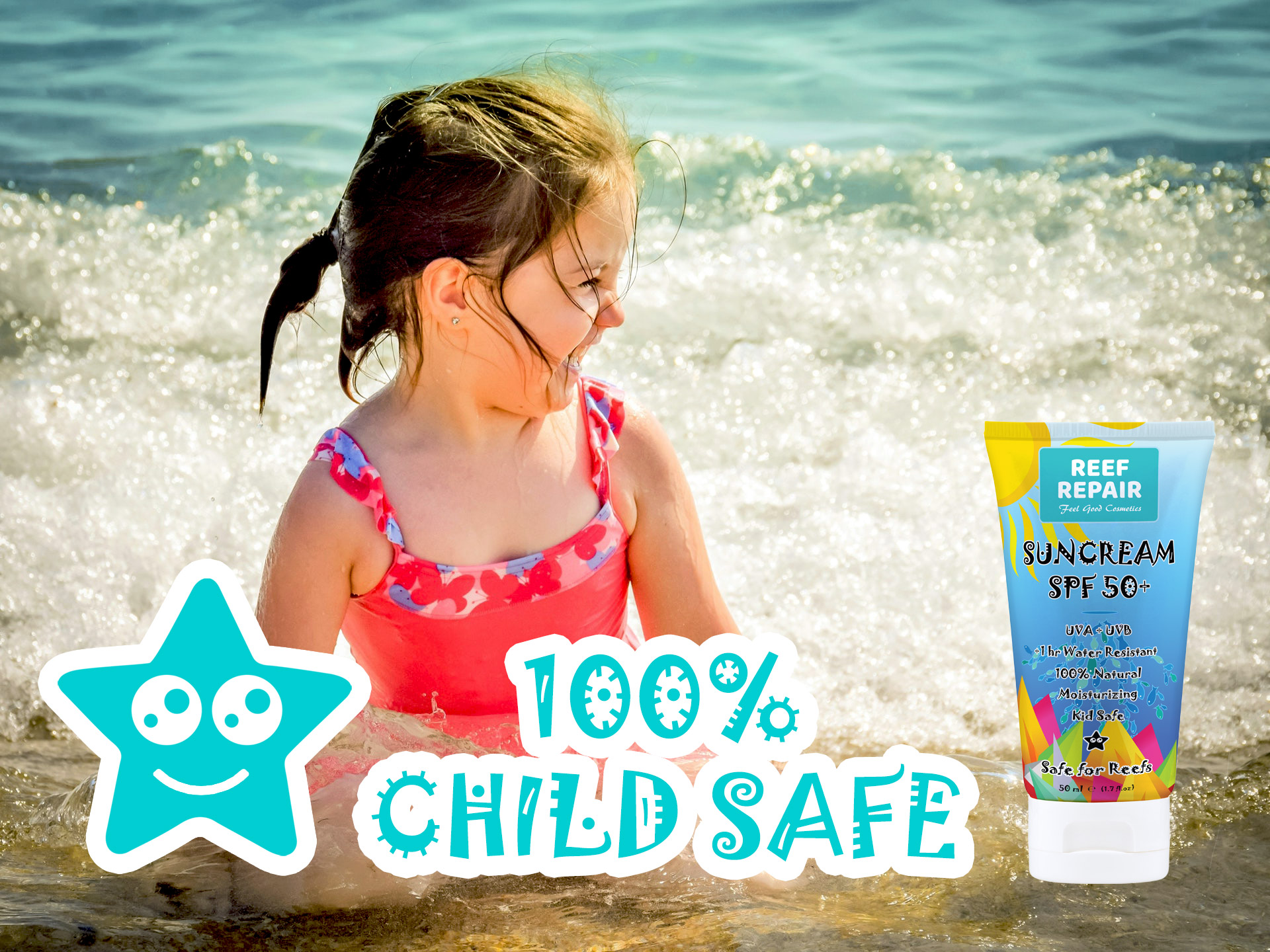 Kid Safe Child Safe Reef Safe Skin Safe All Natural Spf 50 Sunscreen For Children By Reef Repair Sun Care 50ml