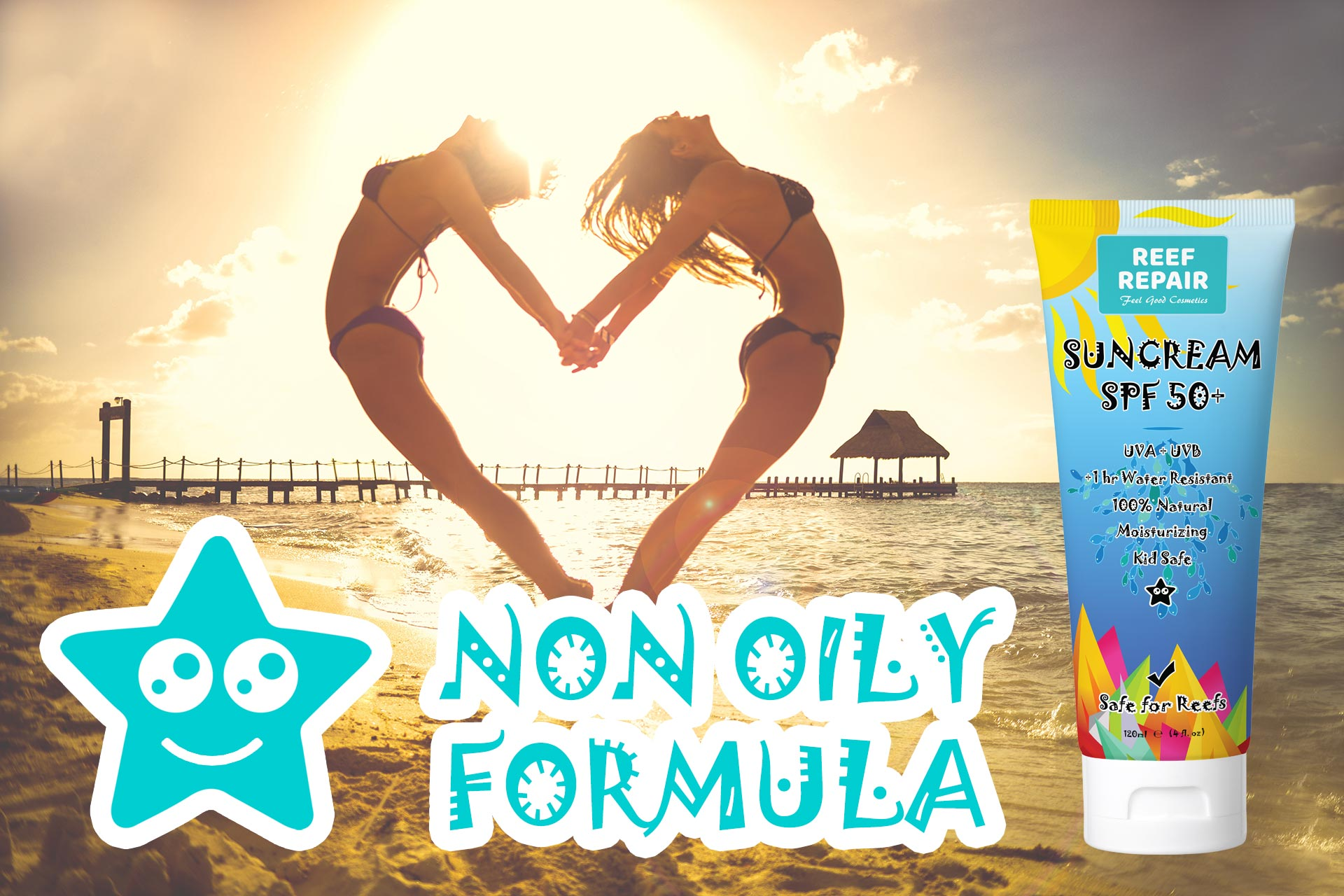 Non Oily Reef Safe Sunscreen Spf 50 Water Resistant Non Sticky By Reef Repair Sun Care 120ml