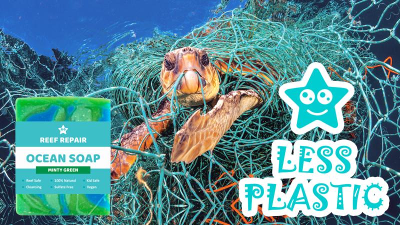 Plastic Reduced Packaging Ocean Soap Bar Minty Green Scented Reef Safe Skin Care Reef Repair