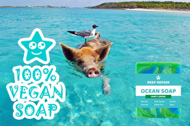 Vegan Reef Safe Vegan Soap Minty Green Reef Repair Skin Care